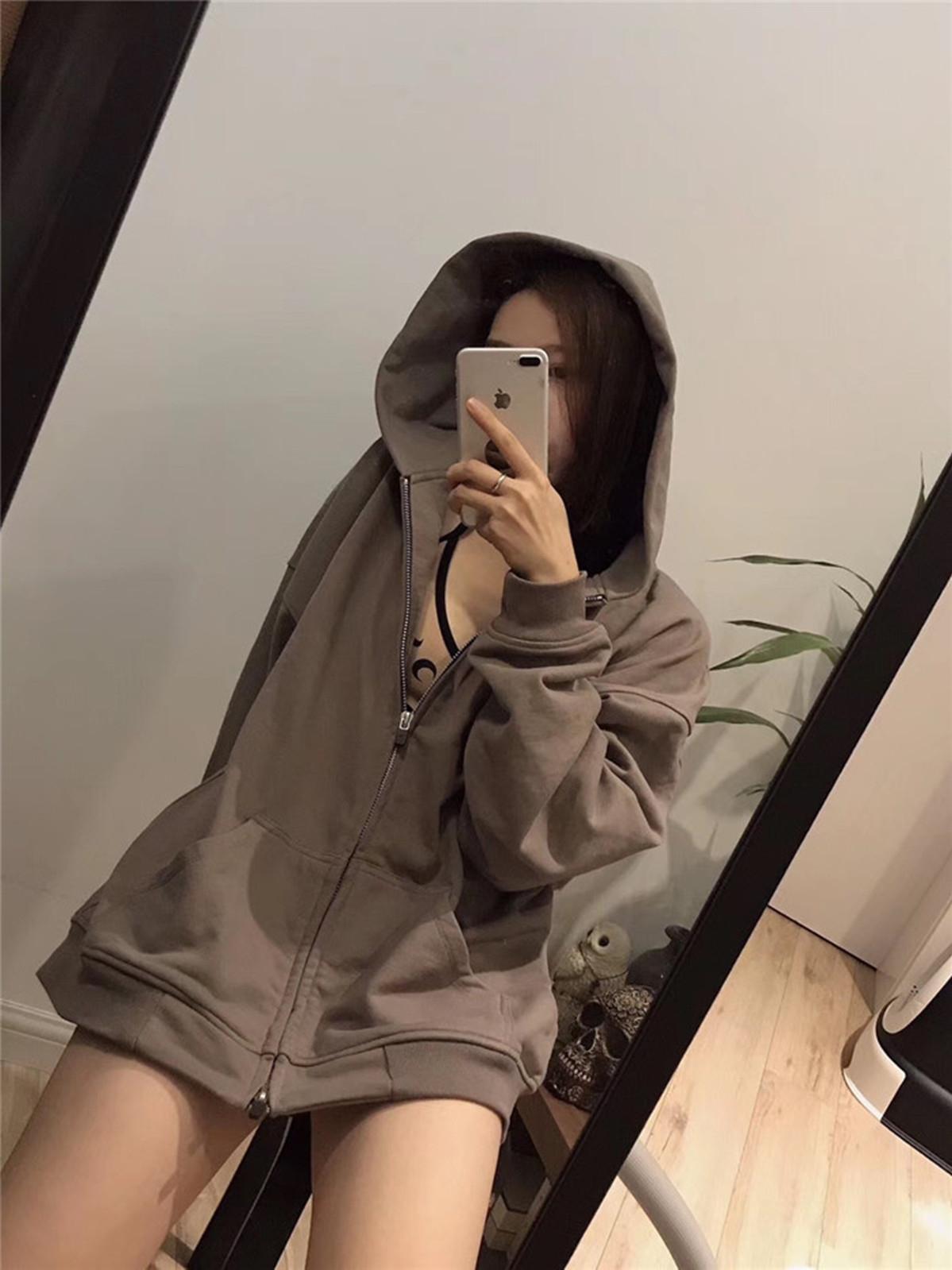 Fashion Grey Fear Sweater God Jacket Femmes Street Saison Hommes 6 Zip-Up God Spot Cardigan à capuche et style de brouillard élevé VCFCL