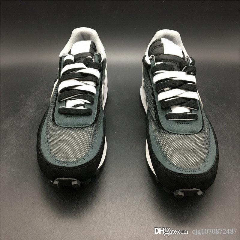 Sıcak En Otantik Sacai LDWaffle Daybreak Siyah Antrasit Erkekler Kadınlar Yeşil Gusto Çam Yeşil Spor Sneakers BV0073-001 Koşu ayakkabıları x