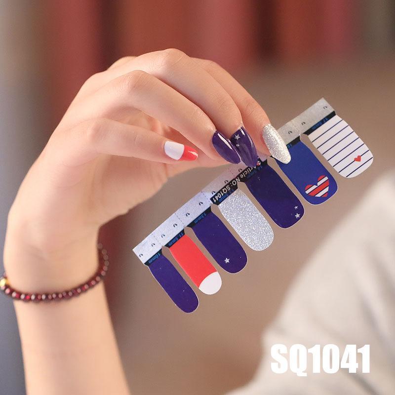 14tips / feuille Nail Art PARFAITEMENT auto-adhésif autocollants polonais feuille de transfert Conseils Wraps 3D ongles imperméable série autocollants SQ