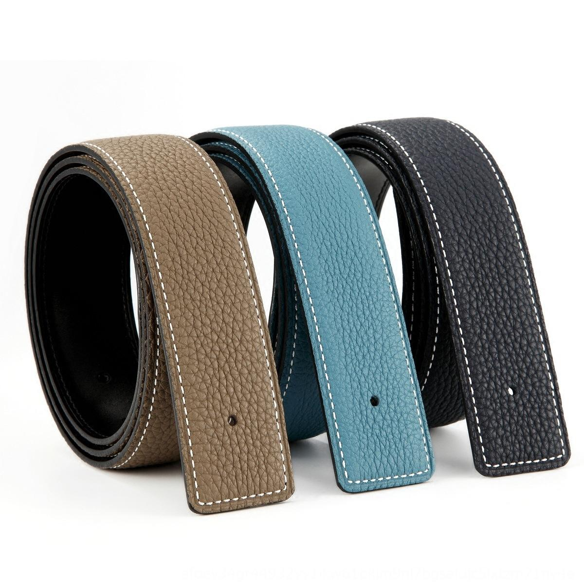 3.2/3.8 genuine leather original first layer cowhide strip without head headless belt beltlitchi pattern perforated belt for men h5GCn h5GCn