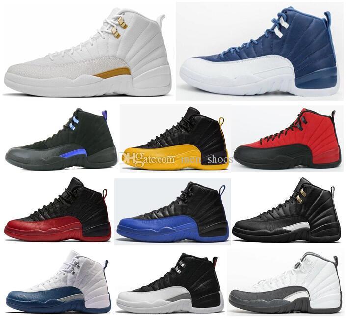 جديد 12 حجر الأزرق الجامعة الذهب الظلام كونكورد عكس الأنفلونزا لعبة ovo أبيض الرجال كرة السلة الأحذية 12 ثانية مباراة فاصلة الفرنسية أحذية رياضية بلو مع صندوق