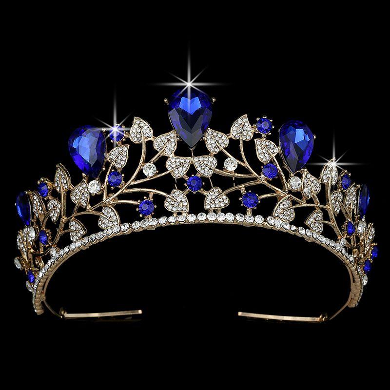 Корона HADIYANA Модной формы листа ювелирных изделий Rhinestone Золотой свадьба невеста волосы Аксессуары для волос BCY8902 Couronne De Mariage