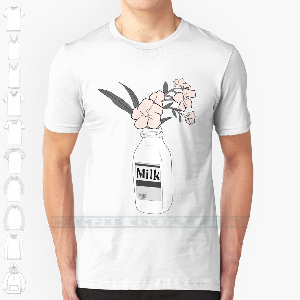 Молоко Настраиваемый дизайн печати для мужчин Женщины Хлопок New Cool тройника рубашки большого размера 6xl Цветочная ваза Minimal Простые линии