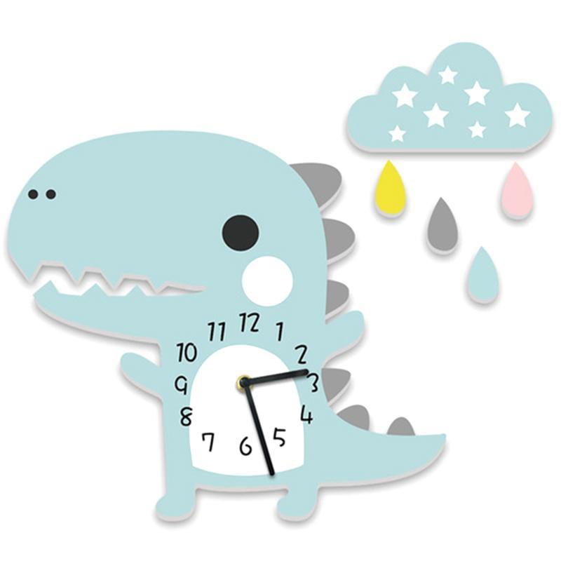 Dinosaurio nube gota etiqueta de la pared del reloj Saat de dibujos animados reloj de pared de jardín de infancia del sitio de niños Sala Stereo Mute Azul