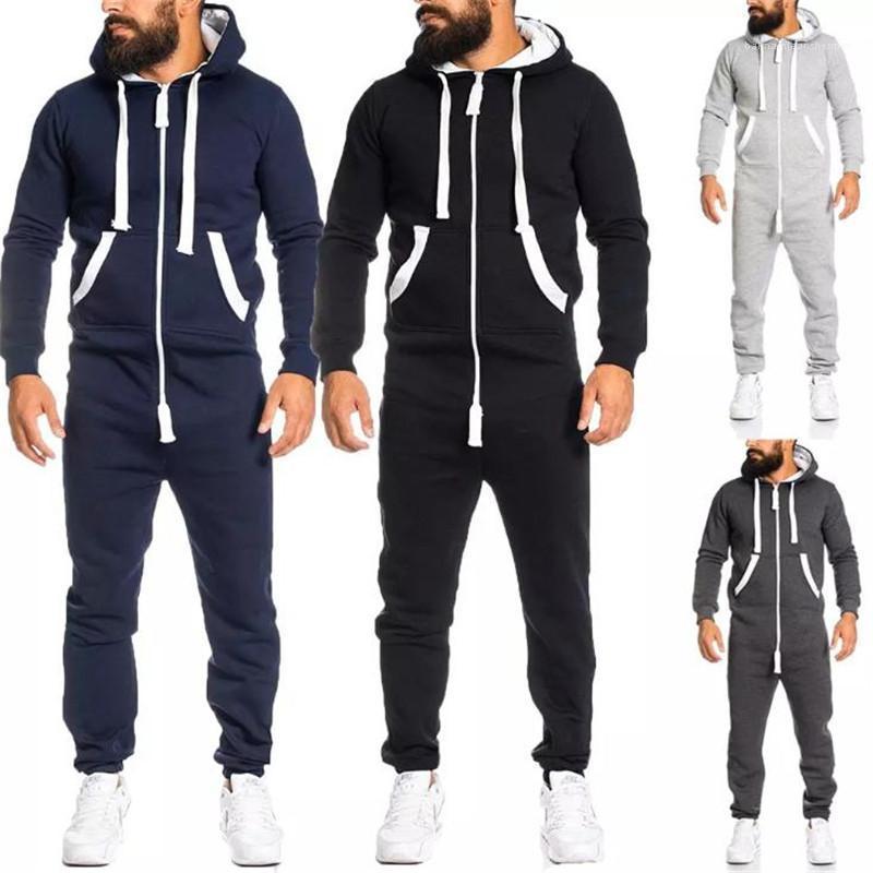 Con bolsillo grueso Playsuit nuevo Mens Ropa para hombre otoño invierno de la cremallera del mono remiendo ropa deportiva con capucha de deporte