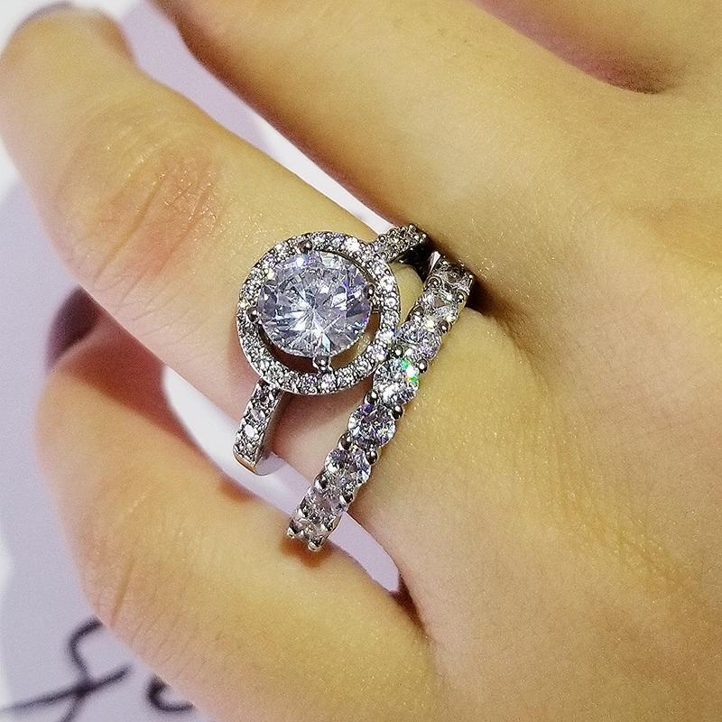 original 925 Sterling Silber Hochzeit Ringe für Frauen-Band-Ring-Verlobungsbrautmodeschmuck Finger Black Friday R5707