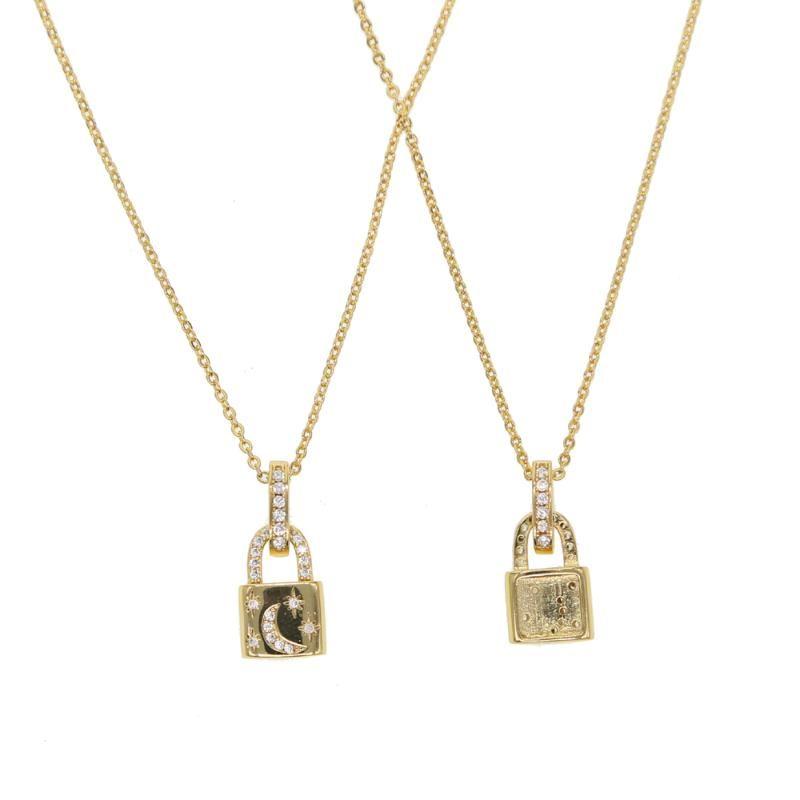 MÁS NUEVO collar de oro collar de la cadena del color PadLock colgante, collar de la marca Rolo cable ras du cou Collier femme mujeres