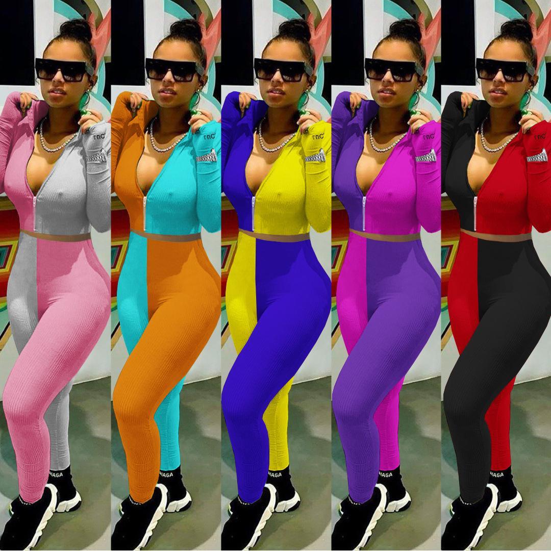 das mulheres Nightclub New All-jogo Casual Calças de ligação no tornozelo, conjunto de duas peças de correspondência de cores, Frito Rua Suit