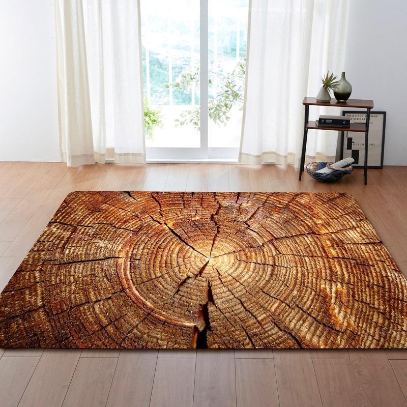 3D retro madera seca Anillo de grano grande de la alfombra por la sala de estar antideslizante sofá tatami estera del piso de la tabla Alfombra tapetes para Casa Sala