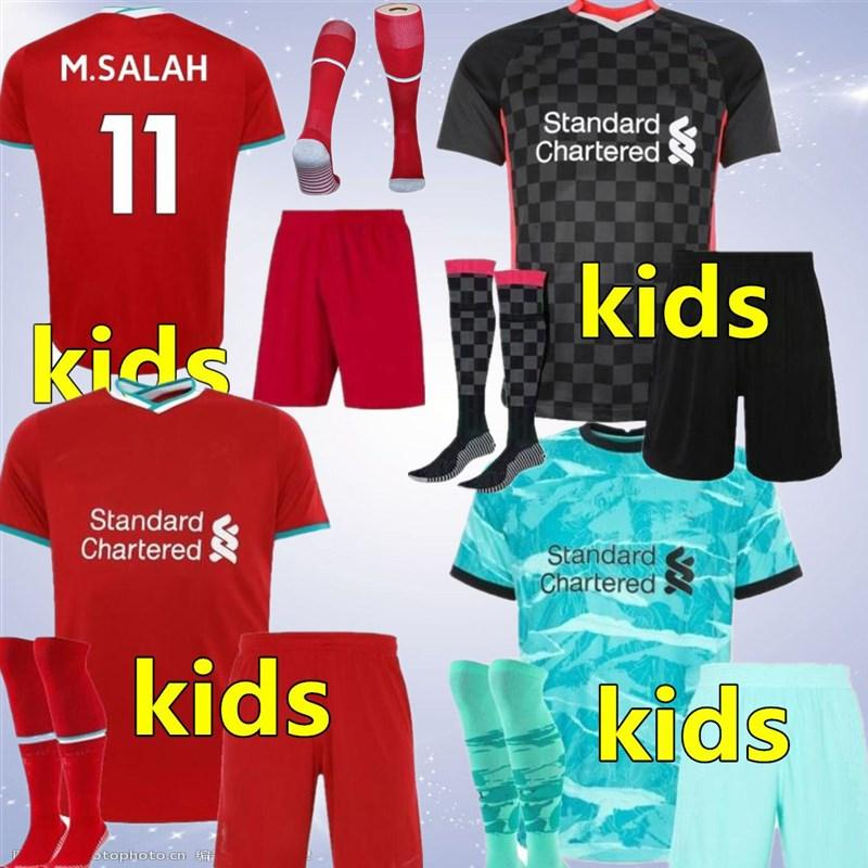 2021 home away kit 3 enfants jersey de football de football chandails chemise 2020 2021 enfants kits de football 20 21 blanc rouge uniforme de football vert noir