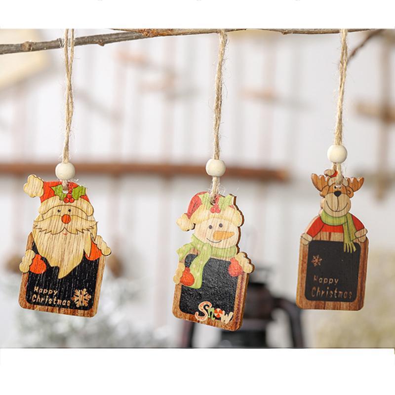 6pcs Noel Mini Tahta kolye Asma Chalkboard Noel Süsleri Renkli Ahşap Etiket Süsler Noel Mesaj Panosu