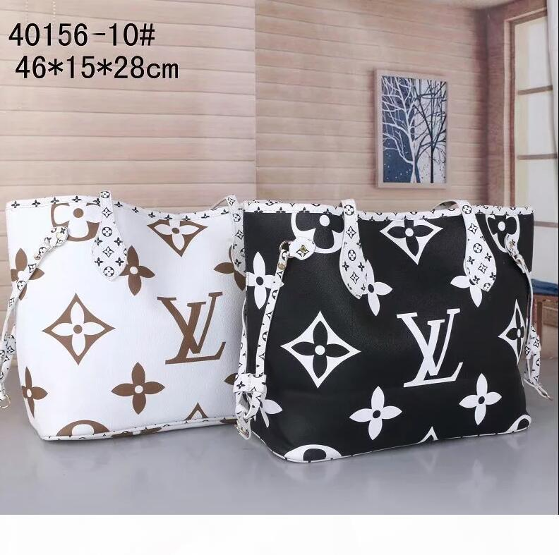 2 Stück Sätze von hochwertigen klassischen Designerhandtaschen der Frauen Schwarz-Weiß-Presbyopie Damen Composite portable PU-Leder Kupplung