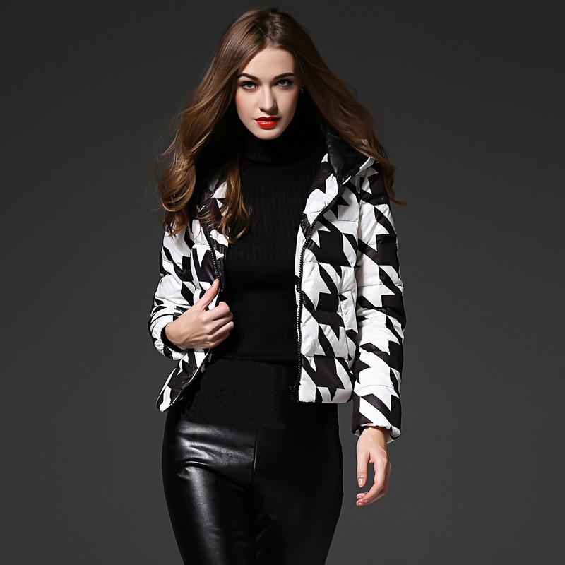 Mode Femmes Blanc 2020 duvet de canard veste manteau d'hiver à capuchon Big Short Femme Slim Vestes Taille Plus Parkas Mujer WXF220