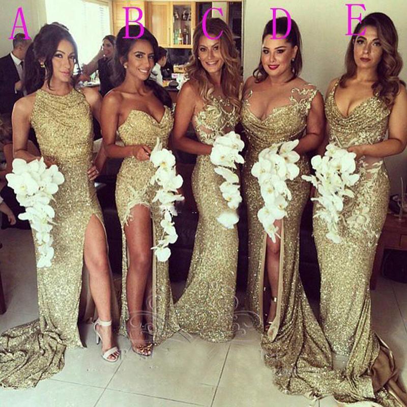 Бесплатная доставка 2020 Sexy Plus Размер Милая рукавов Золото блесток Sparkly Длинные платья невесты свадебного платья вечерние платья
