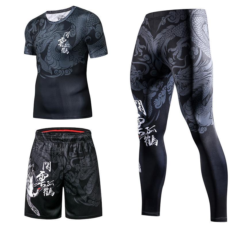 Nouveau Chinois Sports Casual Sports Hommes Tracksuit Gym Gym Fitness Compression Sweatshirts Costume Changer de jogging Sport Vêtements Exercices Set d'entraînement