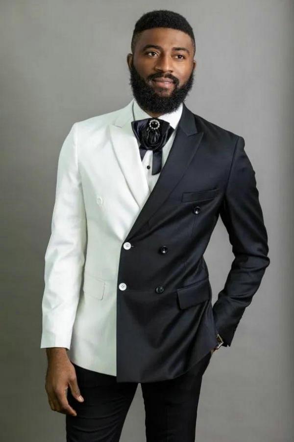 2020 Costume Homme Abotoamento Homens Ternos Branco e preto Noivo Smoking pico lapela Groomsmen Wedding Best Man Jacket + Pant