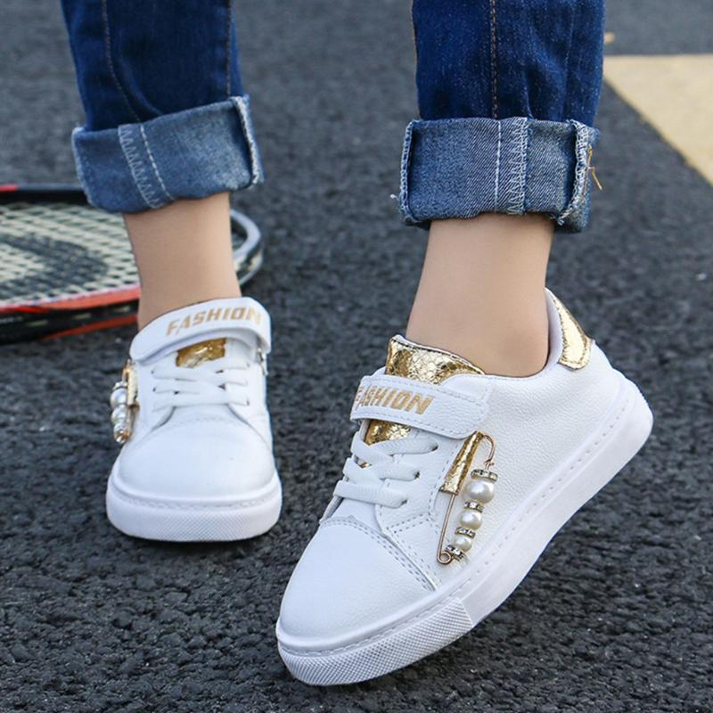JAYCOSIN Fashion Baby Girls White Sneakers Autumn Children Quality Leather Sports Shoes Child Pearl Decorated Non Slip Sneakers