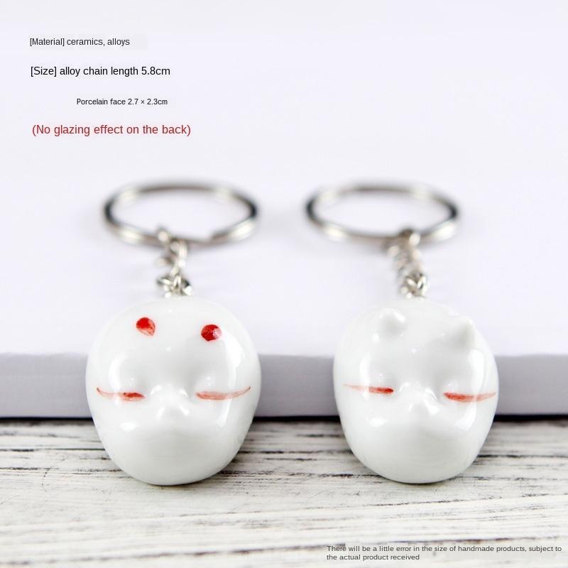 26ykj Qingge peints à la main Pendentif chaîne clé en céramique petit pendentif meilleur du couple à la main porte-clés en céramique bijoux cadeau ami