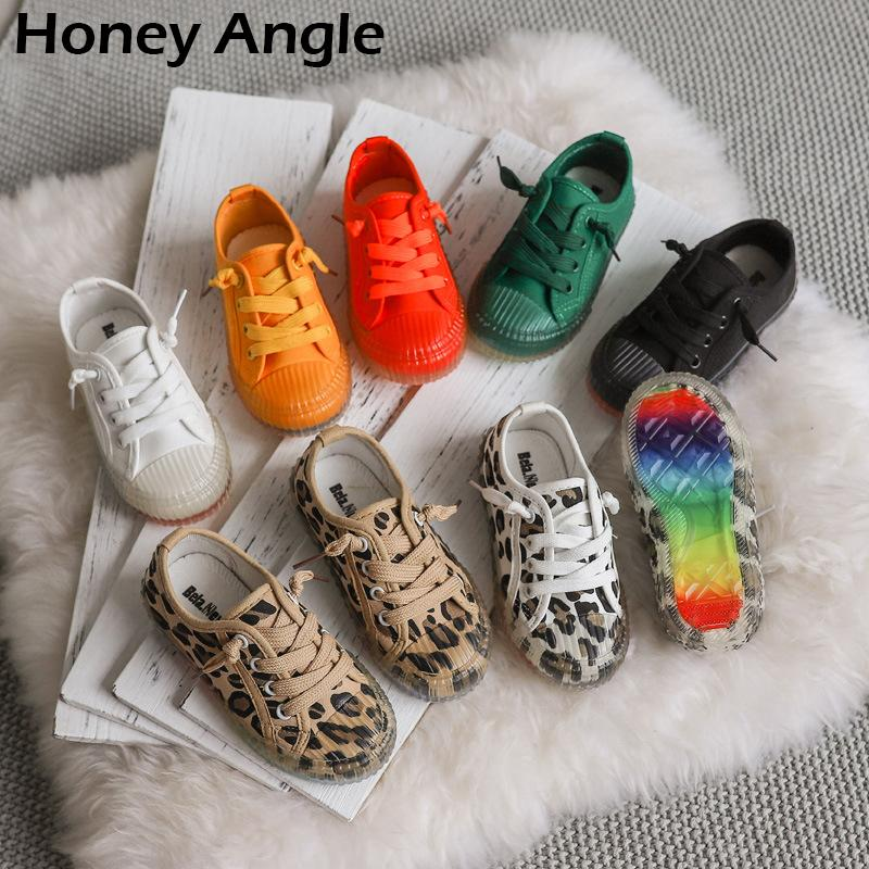 Korean Style Kids Canvas Shoes For Girl Boy Spring Autumn Leopard Rrint Children Shoes Little Girl Baby Fashion Canvas Shoe LJ200907