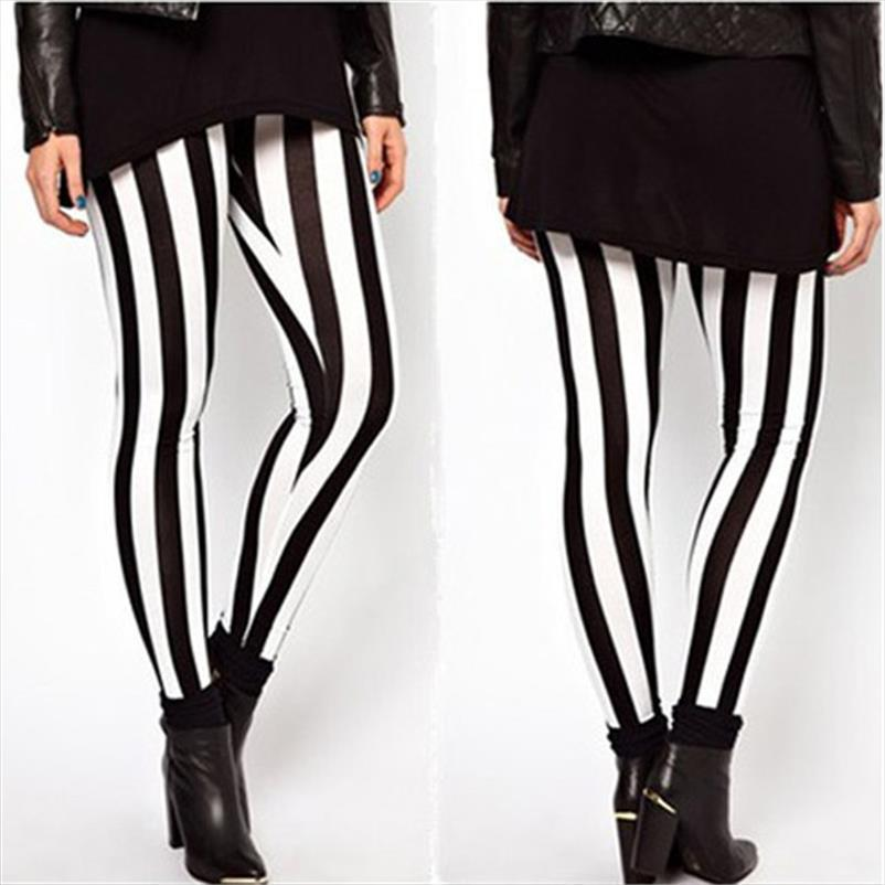 Vertical Stripes Leggings Women Soft High Quality Joggings Golden Black Pants Patchwork Slim Legging Stretch Fitness Trousers
