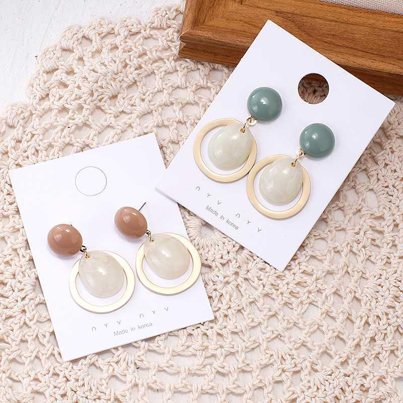 Люстра свисалки Анесоа Корейский прекрасный круглая кнопка капля воды смола серьги для женщин винтажные матовые металлические конфеты цветное кольцо полого камня