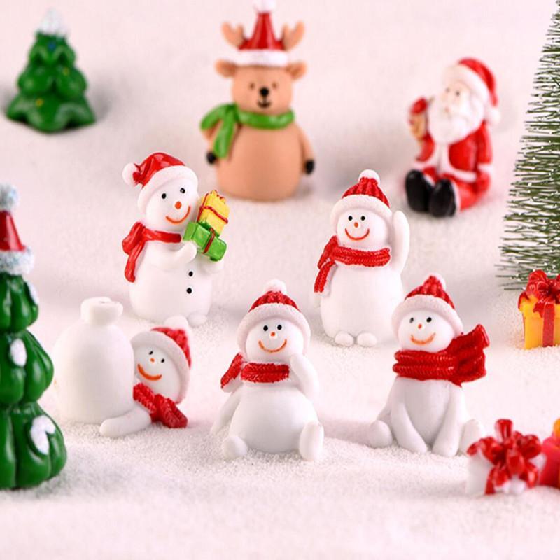Caja miniatura del árbol de Navidad de Santa Claus muñecos de nieve terrario Accesorios Regalo Hada del jardín Figuras muñeca decoración de la casa