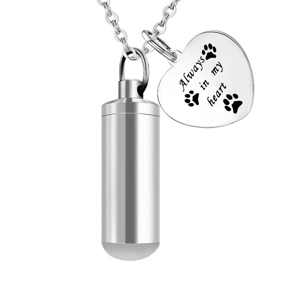 Pet Paws Imprime Pendentif en acier inoxydable en acier inoxydable Bijoux commémoratifs avec kit de remplissage -always dans mon coeur
