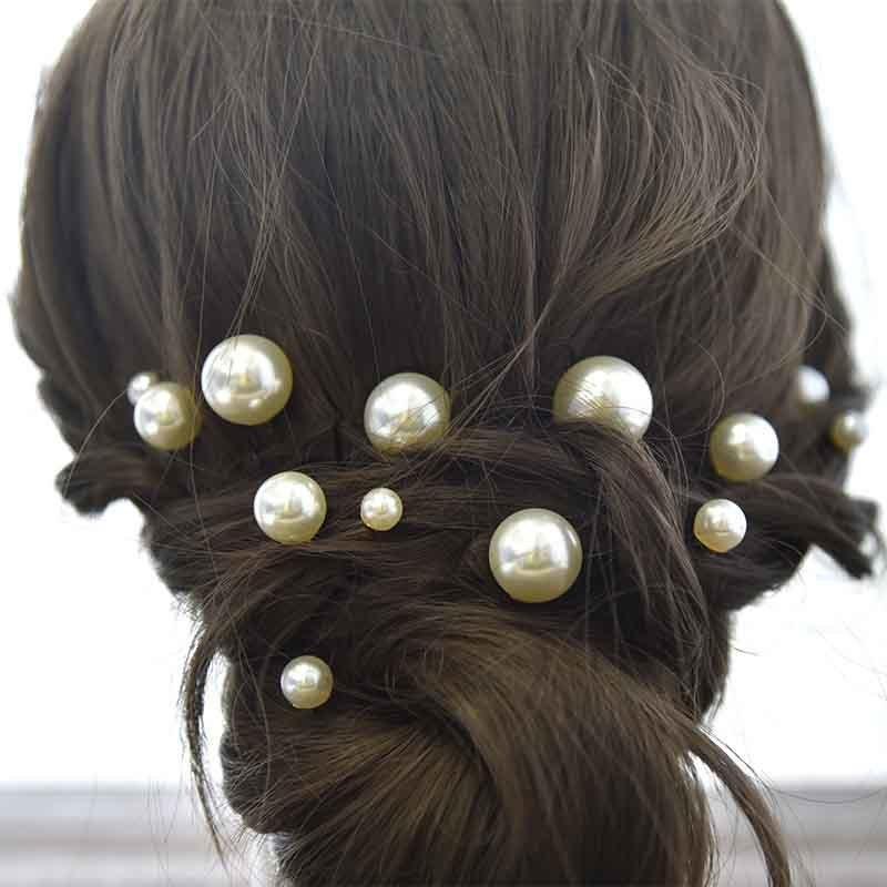 FORSEVEN Basit İnciler U Şeklinde Tokalar Barrette Bobby Pin Kadınlar Gelin Düğün Coiled Saç Şekillendirme Jewellry 18pcs Sticks