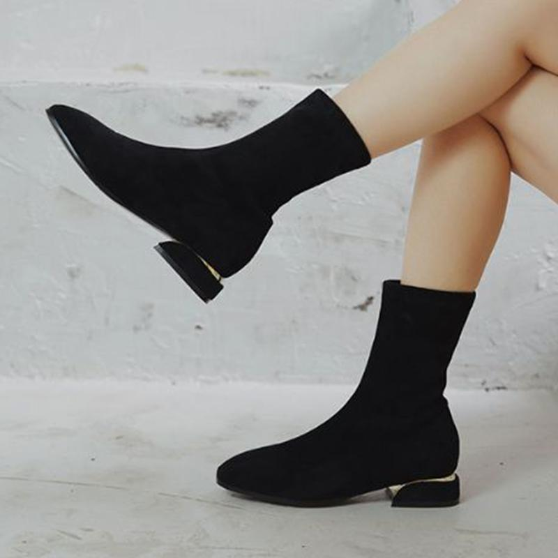 Kafa siyah çizmeler büyük boy 34-43 bot elastik buzlu kısa kadın yeni sonbahar ve kış parti ayakkabı