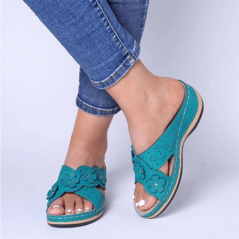 Pantofole donna estate Roma Retro Tre colori dei pattini casuali fondo spesso cuneo Open Toe Sandals Beach Slip On diapositive femminile @ 3 5Y55 #
