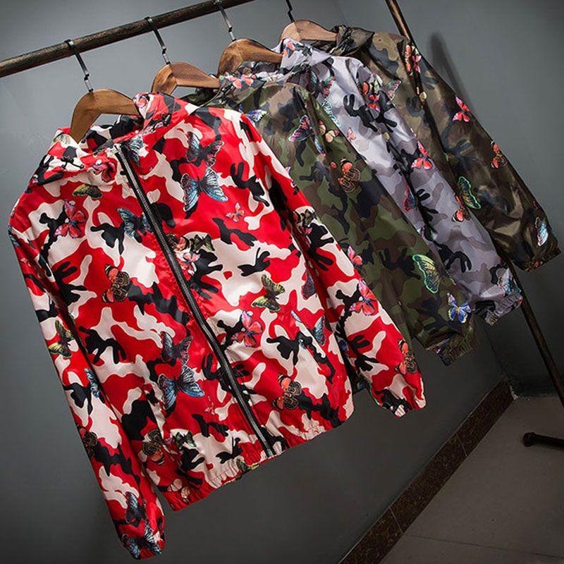 Yüksek Kaliteli Kadınlar Rüzgarlık Ceket İlkbahar Yaz Kamuflaj İnce Kadın Kamuflaj Kelebek WINDBREAKER Coats Kapşonlu Casual eskitmek