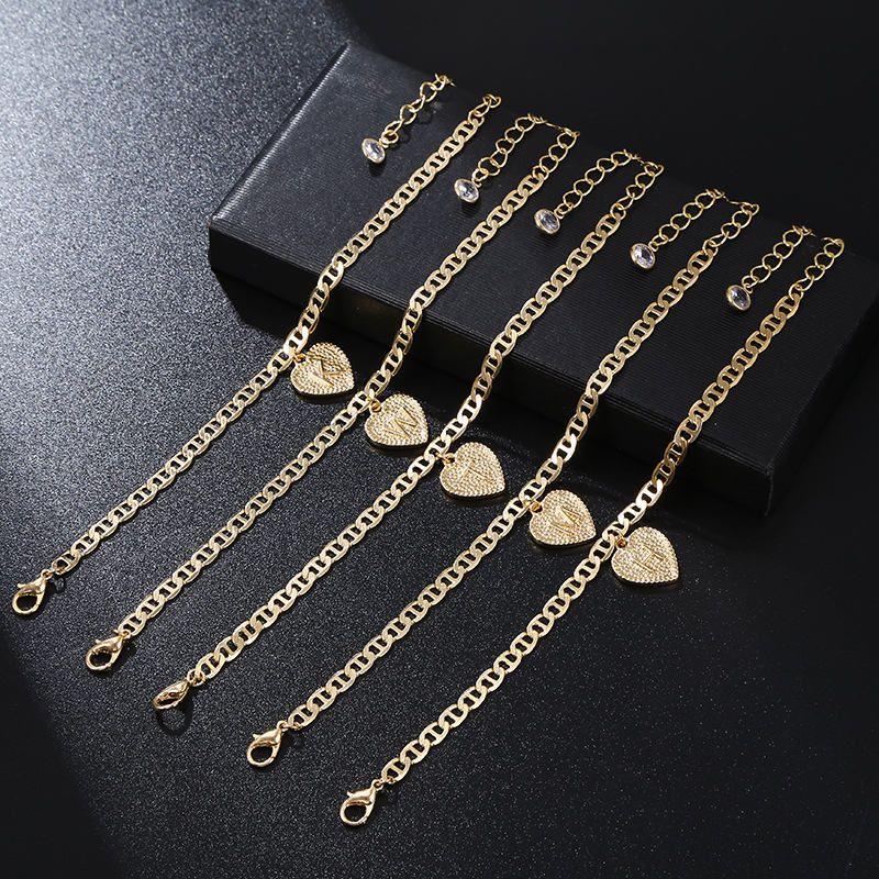 26 Français Heart Initial Heart Chaîne à ankinette Cristal Chaînes Or Charm Foot Bracelets Lettres Femmes Fashion Bijoux Will et Sandy Cadeau