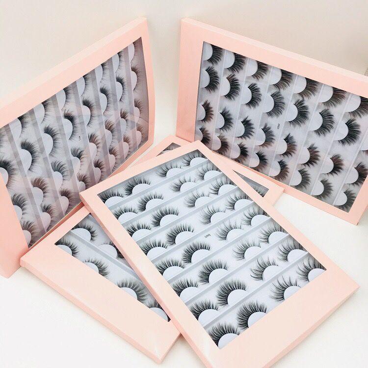 Бесплатная доставка оптовых 16 пар в набор ручной 3D Искусственные ресницы Норковые волос 16Pairs Природные крест-накрест длинные ложные ресницы с