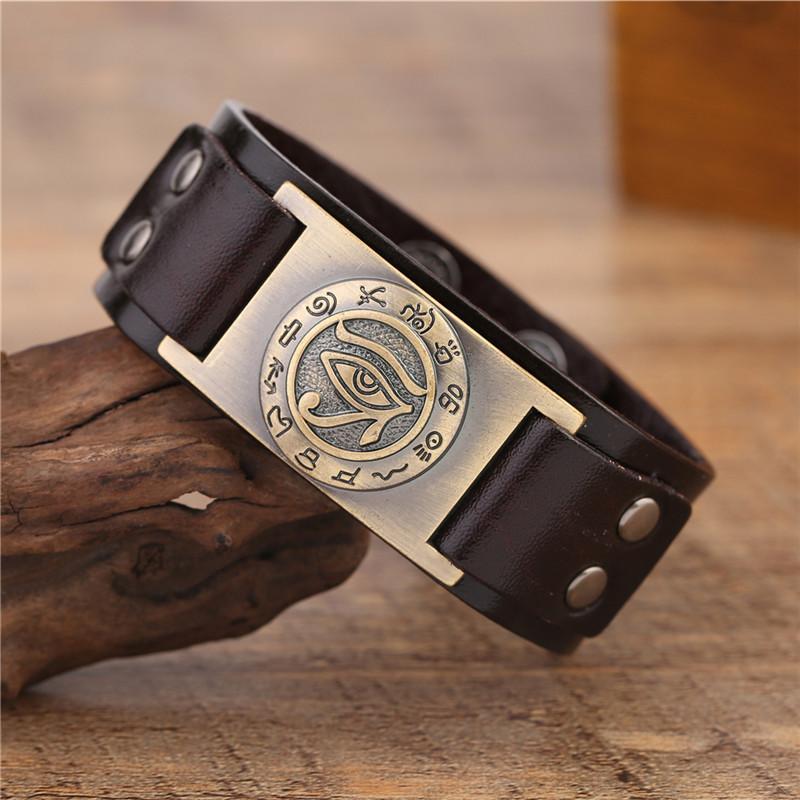 Skyrim religieux égyptien Eye of Ra Horus Cuff Bracelet Punk homme Bracelets en cuir L'oeil d'Horus Sigil Wicca Bijoux