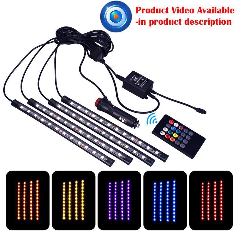 4pc Araba Oto Müzik Kontrol RGB LED Şerit 12LED SMD Ses Denetleyicisi Esnek Işık LED Şerit Ev Dekorasyon Atmosfer Lambası