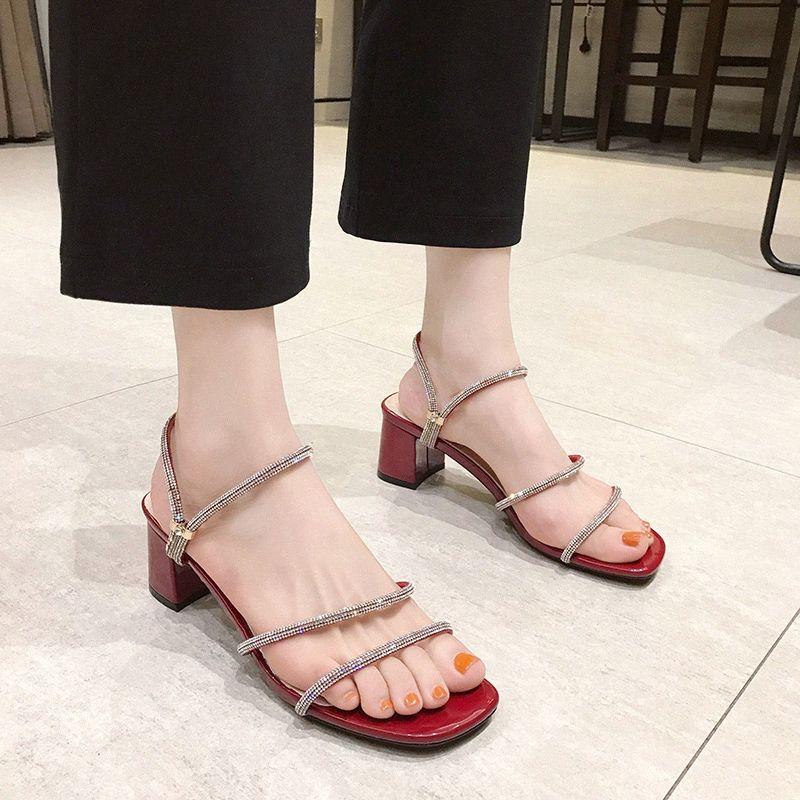 Кристалл Narrow Band Высокий каблук тапочки сандалии женщин площади Toe тапочки красный сандалии лето Блестящая Open Toe Слайды Женщины 2020 q2uu #
