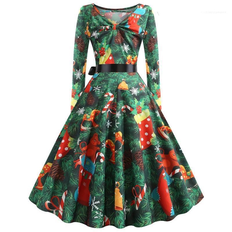 Noel Kasetli Kadın Genişleme Elbise Tasarımcı Dişiler Giyim 3D Dijital Kadınlar Günlük Elbiseler Moda Print yazdır