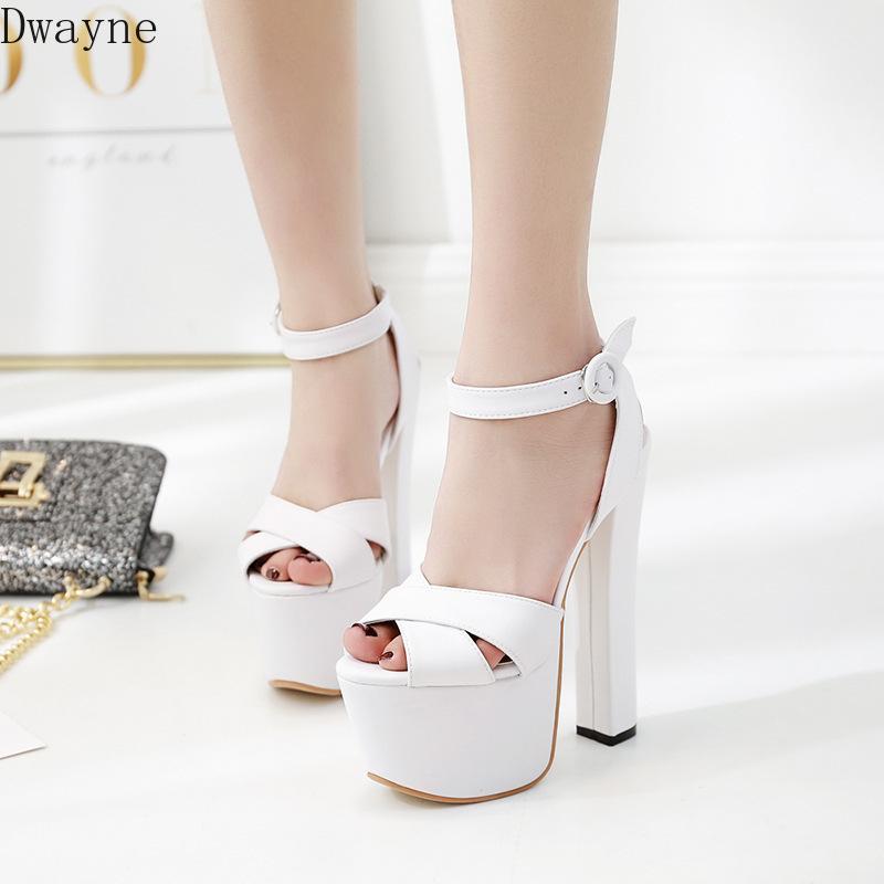 Elbise Ayakkabıları 2021 Yaz 17 cm Kalın Yüksek Topuklu Moda Platformu Sandalet Modeli Podwalk Süper Topuk Kadınlar