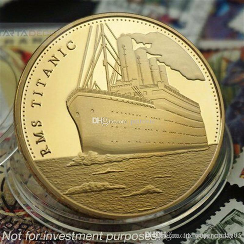 RMS Titanic Gold Plated Commemorative Coin Journey of the Titanic+The Voyage Of Titanic Gold Plated Badge Commemorative Coin free shipping
