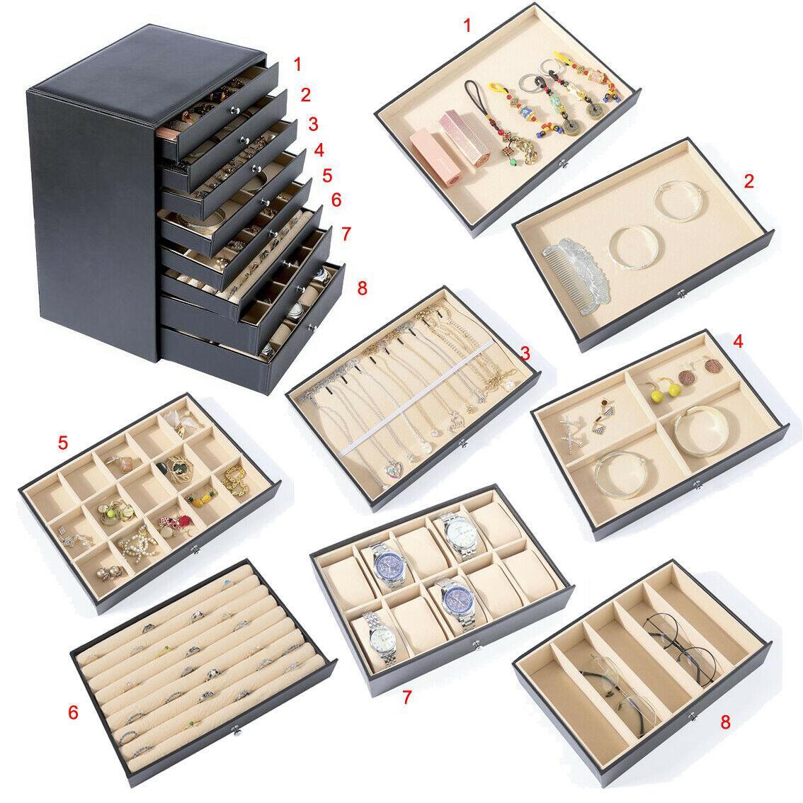 8 층짜리 고급 보석 서랍 상자 목걸이 팔찌 귀걸이 선글라스 시계