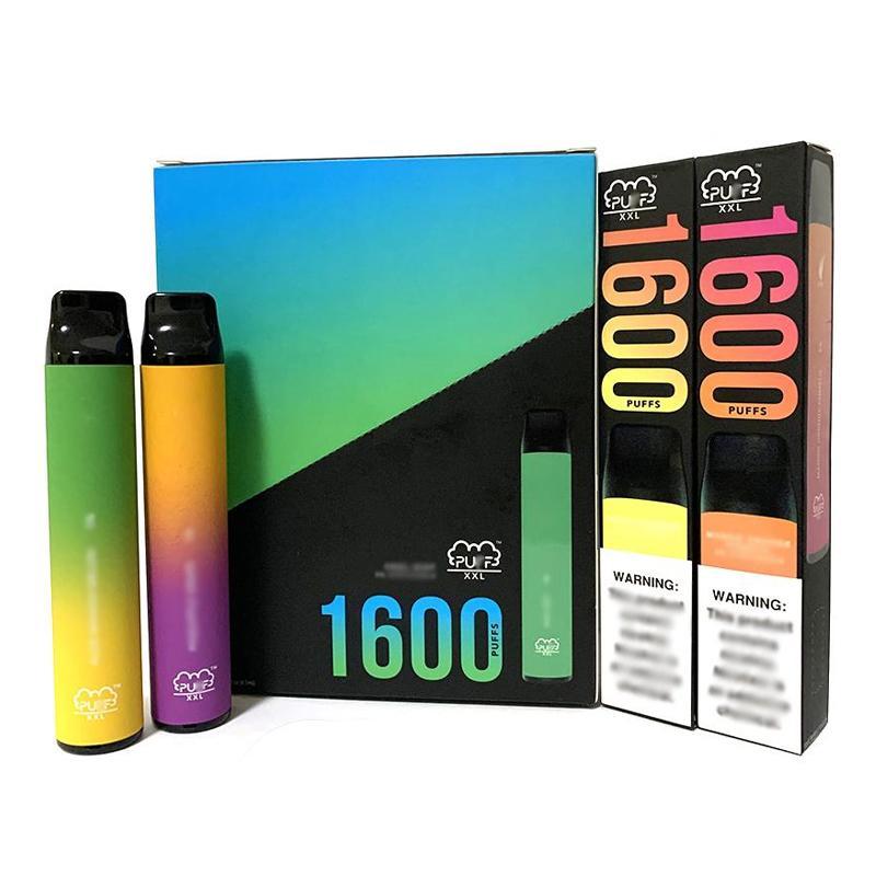 Puff XXL Dispositivo Descartável 1600 Puffs Pen 10 Cores Vape Vape Pre-Cheio Vagens 1000mAh Bateria Eletrônica Cigarro
