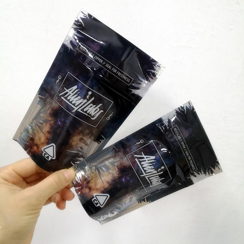 New 3.5g Alien Labs Paket Child Proof-Beutel Verpackung Beutel für Vape Zipper Standbodenbeutel 420 Dry Herb Flowers Nur