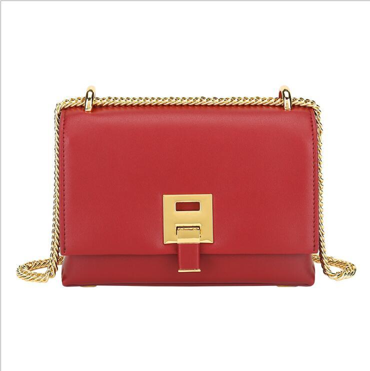 Mode Damen Schlosskette Kleine Square Tasche Einzelner Schulter Crossbody Messenger Bag Große Brieftasche Tragetaschen