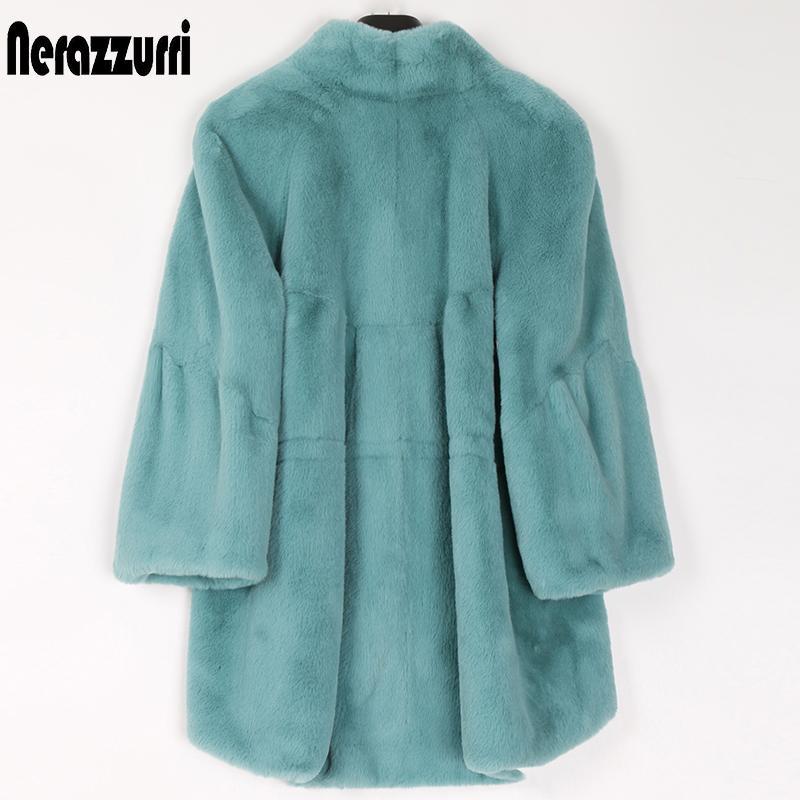 인테르 푹신한 가짜 모피 코트 여성 래글런 슬리브 플러스 사이즈 모피 재킷 2020 패션 가을 겨울 여성 의류 T200909 플레어 느슨한