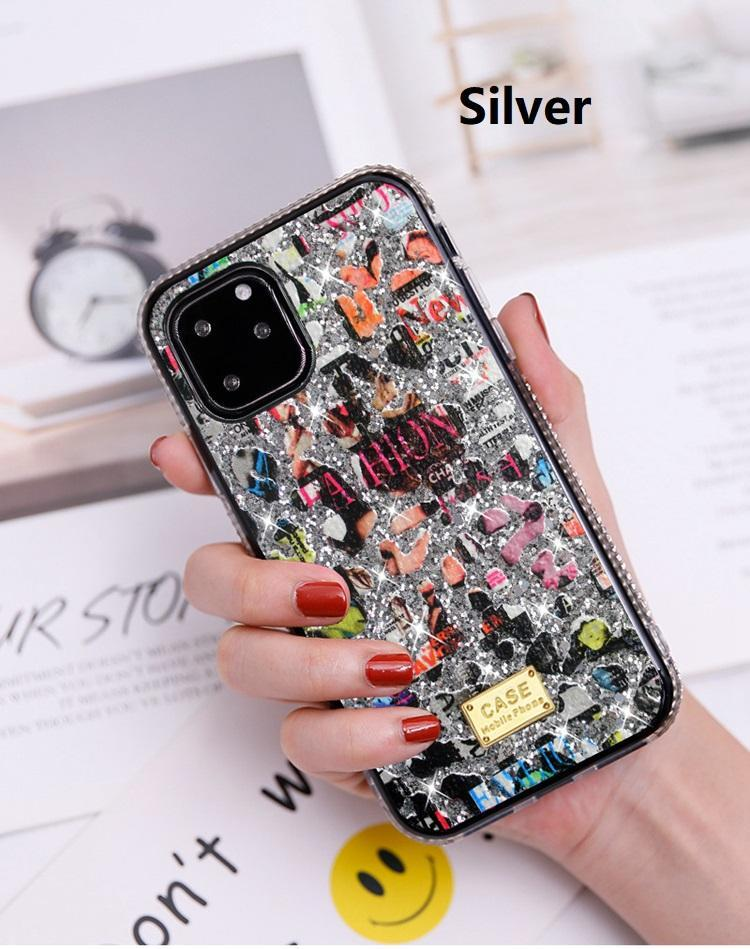 New For iphone 11 pro x xr xs max 8 7 6 plus cell phone bling bling Rhinestone Case cartoon scrawl creative designer back cover