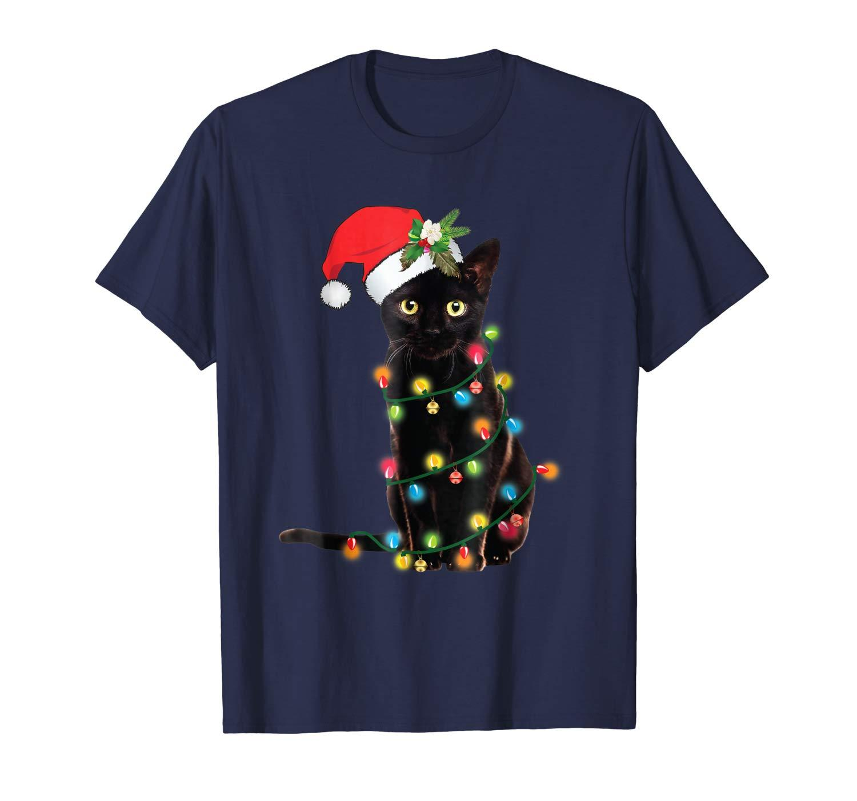 Tangled Up in Luzes do gato preto de Santa T-shirt do Natal de Santa surpreendente manga curta único casual tops de manga curta