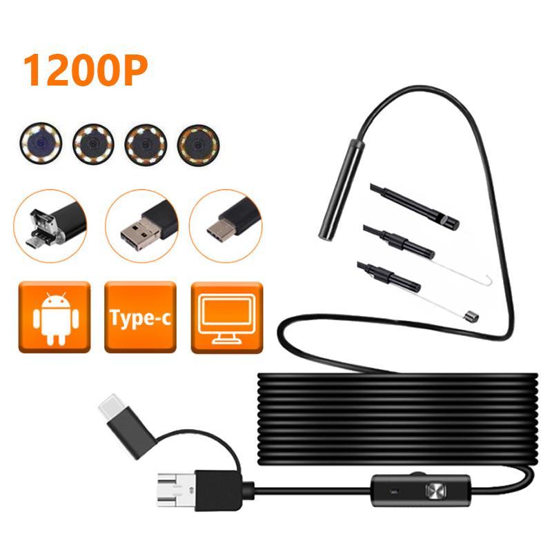 1 ~ 10M 8LEDs 1200P 8 мм Гибкая водонепроницаемый Inspection Borescope камера для Android Phone PC Notebook USB камеры