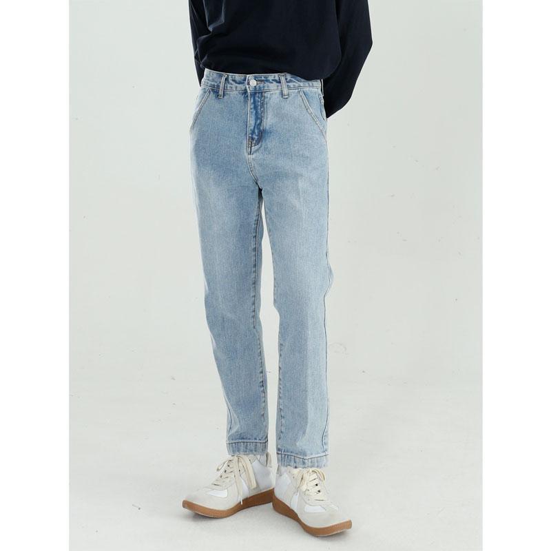 Hommes Streetwear Hiphop Casual lâche cheville longueur petites droites Jeans Homme Femmes Japon Corée Mode Vintage Denim Jean Pants