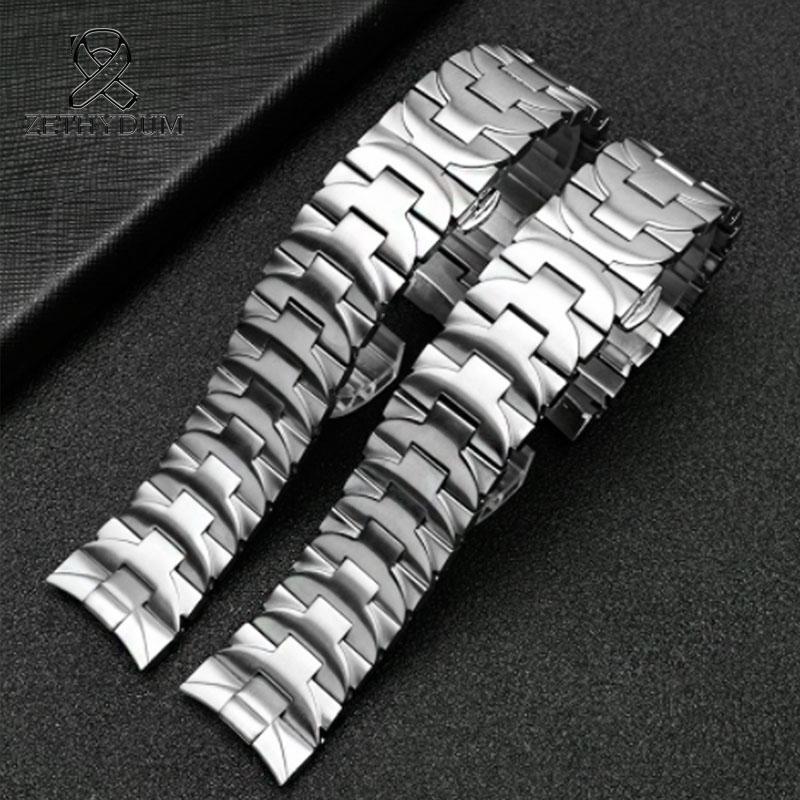 الفولاذ المقاوم للصدأ النطاقات حزام 24mm رجل الساعات الأعلى حزام أسود ل pam 111 الفولاذ المقاوم للصدأ فراشة مشبك