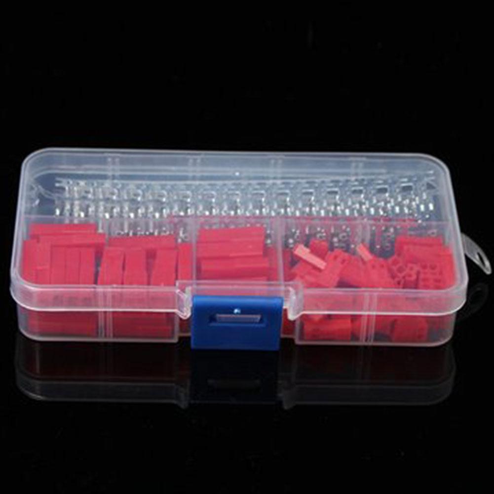 300Pcs 2Pin Femminile / terminali maschio rosso Corpo connettore maschio Crimp connettore